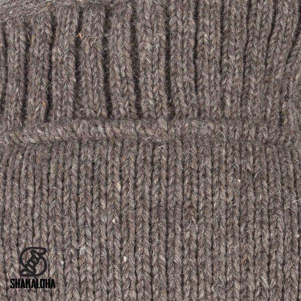 Shakaloha Shakaloha Veste en Laine Tricoté Harta Classic Taupe marron clair avec Doublure en polaire et Col haut - Hommes - Uni - Fabriqué à la main au Népal en laine de mouton