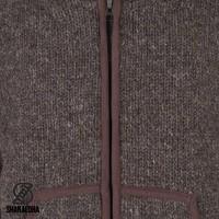 Shakaloha Shakaloha Wolljacke - Strickjacke Harta Classic Dunkelbraun mit Fleece-Futter und hohem Kragen - Herren - Uni - Handgemacht in Nepal aus Schafwolle