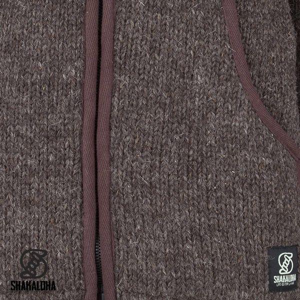 Shakaloha Shakaloha Veste en Laine Tricoté Harta Classic Marron foncé avec Doublure en polaire et Col haut - Hommes - Uni - Fabriqué à la main au Népal en laine de mouton