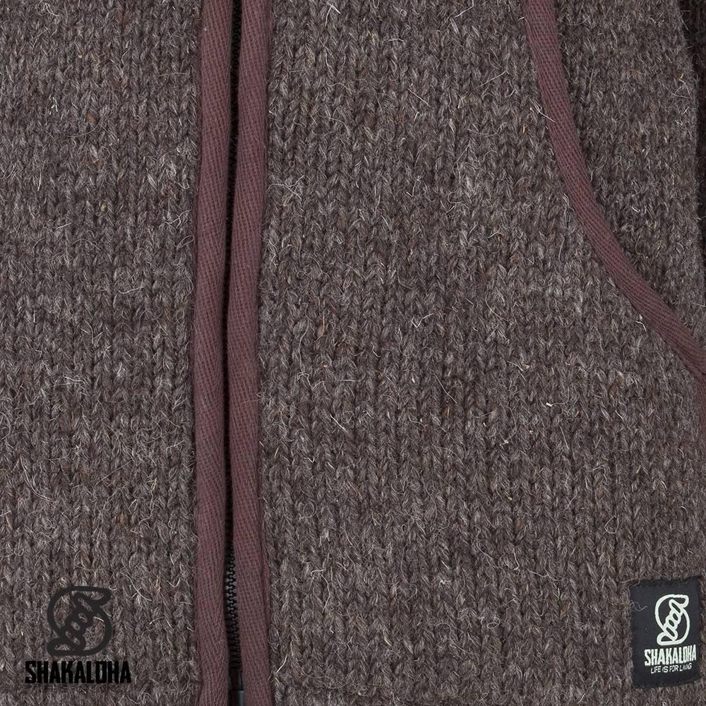 Shakaloha Shakaloha Gebreid Wollen Vest Harta Classic Donker Bruin met Fleece Voering en Hoge Kraag - Man/Uni - Handgemaakt in Nepal van Schapenwol