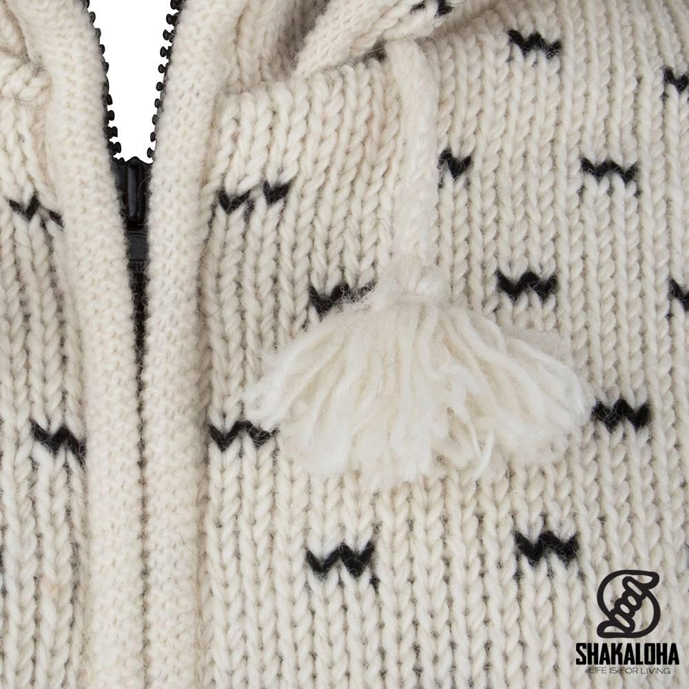Shakaloha Shakaloha Gebreid Wollen Vest Seal Ziphood Wit Zwart met Fleece Voering en Afneembare Capuchon - Dames - Handgemaakt in Nepal van Schapenwol