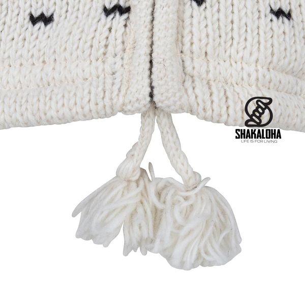 Shakaloha Shakaloha Wolljacke - Strickjacke Seal Ziphood weiß schwarz mit Fleece-Futter und Abnehmbarer Kapuze - Damen - Handgemacht in Nepal aus Schafwolle