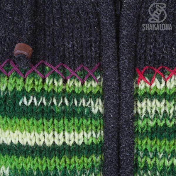 Shakaloha Shakaloha Gebreid Wollen Vest Paisly Antraciet Multicolor met Fleece Voering en Capuchon met Binnenkraag - Dames - Handgemaakt in Nepal van Schapenwol