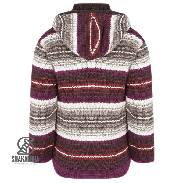 Shakaloha Shakaloha Knitted Woolen Jacket Lois Wine red Gray with Fleece Lining and Hood with inner collar - Woman - Handmade in Nepal from sheep's wool