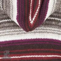 Shakaloha Shakaloha Wolljacke - Strickjacke Lois Weinrot Grau mit Fleece-Futter und Kapuze mit Innenkragen - Damen - Handgemacht in Nepal aus Schafwolle