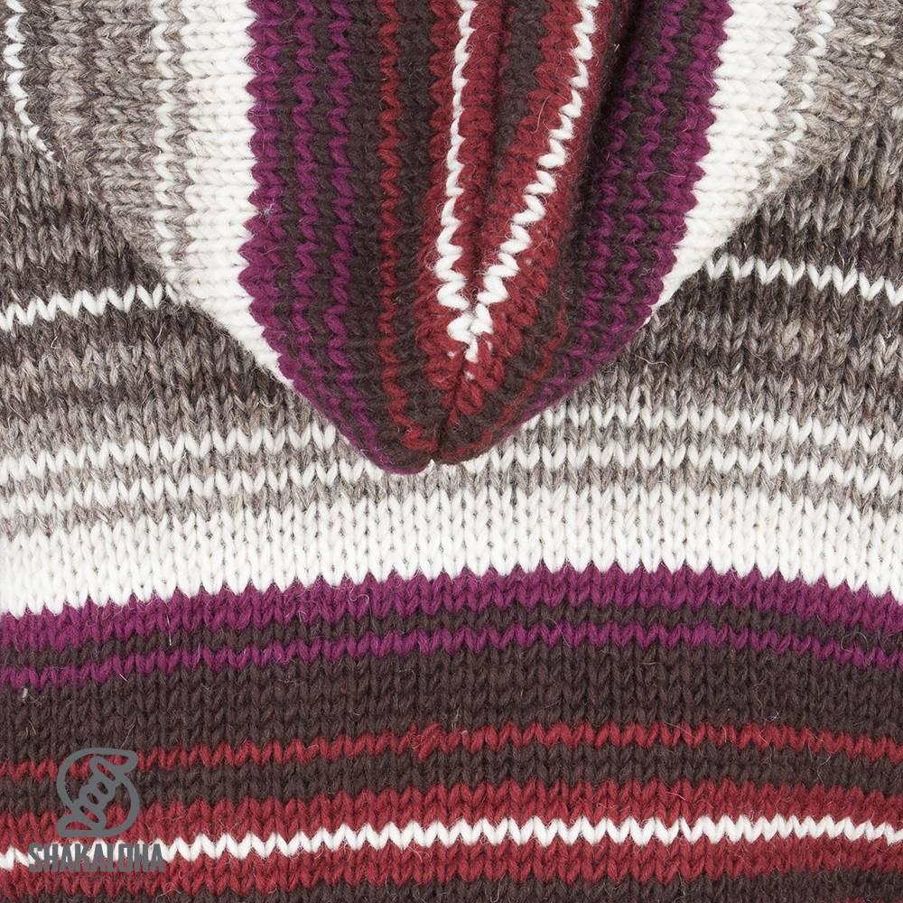 Shakaloha Shakaloha Gebreid Wollen Vest Lois Wijnrood Grijs met Fleece Voering en Capuchon met Binnenkraag - Dames - Handgemaakt in Nepal van Schapenwol