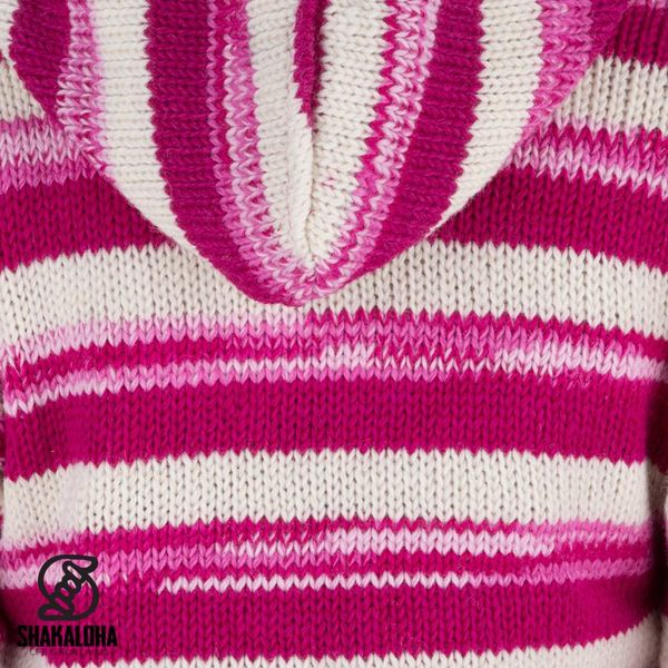 Shakaloha Shakaloha Gebreid Wollen Vest Lisa Roze Wit met Fleece Voering en Capuchon met Binnenkraag - Dames - Handgemaakt in Nepal van Schapenwol