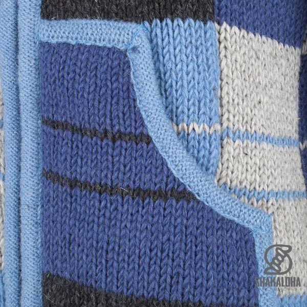 Shakaloha Shakaloha Veste en Laine Tricoté Patch NH Rayé bleu avec Doublure en polaire et Capuche avec col intérieur - Femmes - Fabriqué à la main au Népal en laine de mouton