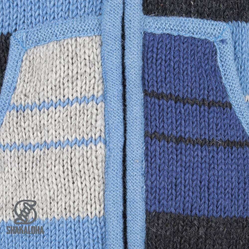 Shakaloha Shakaloha Gebreid Wollen Vest Patch NH Blauw Gestreepd met Fleece Voering en Capuchon met Binnenkraag - Dames - Handgemaakt in Nepal van Schapenwol