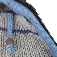 Shakaloha Shakaloha Knitted Woolen Jacket Patch NH Blue Striped with Fleece Lining and Hood with inner collar - Woman - Handmade in Nepal from sheep's wool
