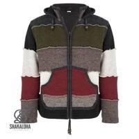 Shakaloha Shakaloha Knitted Woolen Jacket Zwitek Dark More Colorful with Fleece Lining and Hood with inner collar - Men - Unisex - Handmade in Nepal from sheep's wool