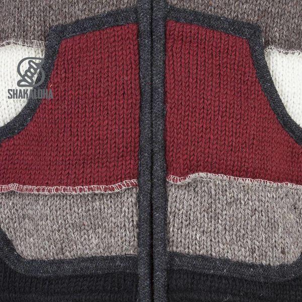 Shakaloha Shakaloha Veste en Laine Tricoté Zwitek Sombre plus coloré avec Doublure en polaire et Capuche avec col intérieur - Hommes - Uni - Fabriqué à la main au Népal en laine de mouton