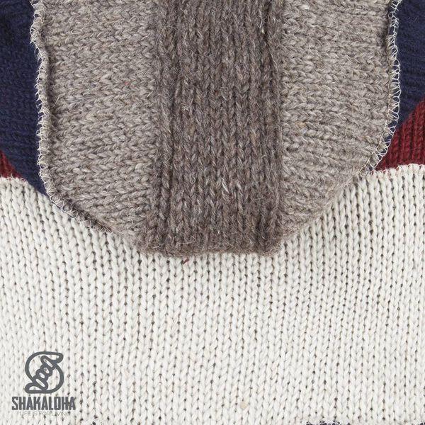 Shakaloha Shakaloha Wolljacke - Strickjacke Zwitek Dunkel bunter mit Fleece-Futter und Kapuze mit Innenkragen - Herren - Uni - Handgemacht in Nepal aus Schafwolle
