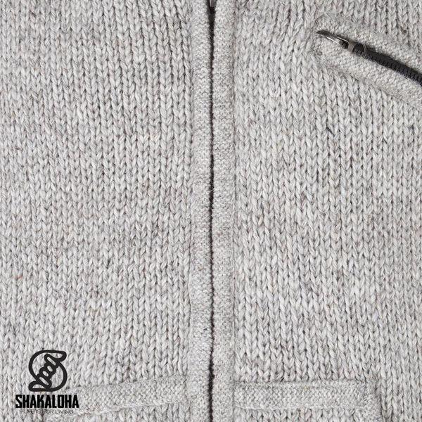 Shakaloha Shakaloha Veste en Laine Tricoté New Chitwan gris avec Doublure en polaire et Capuche - Hommes - Uni - Fabriqué à la main au Népal en laine de mouton
