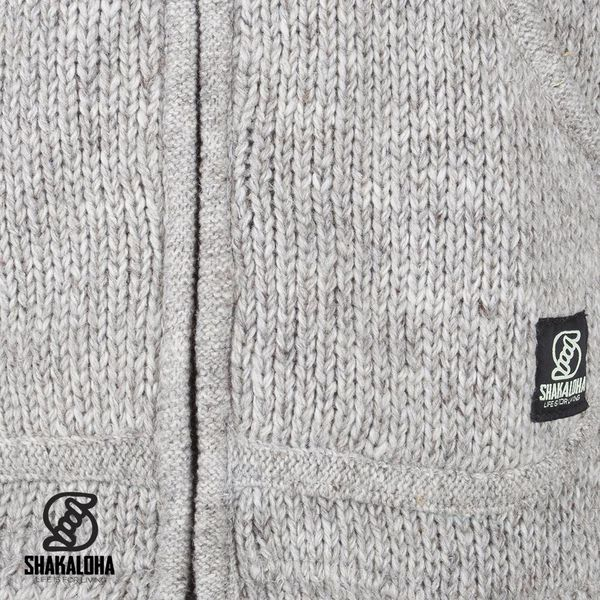 Shakaloha Shakaloha Gebreid Wollen Vest New Chitwan Grijs met Fleece Voering en Capuchon - Man/Uni - Handgemaakt in Nepal van Schapenwol