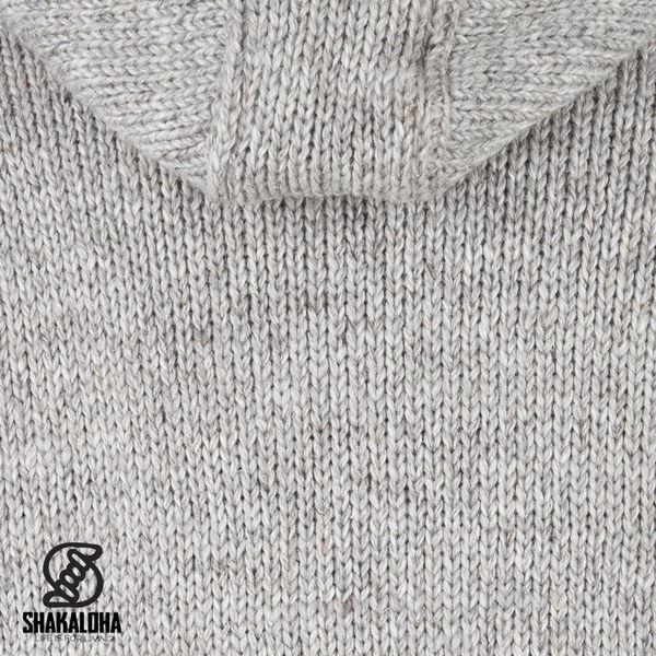 Shakaloha Shakaloha Wolljacke - Strickjacke New Chitwan Grau mit Fleece-Futter und Kapuze - Herren - Uni - Handgemacht in Nepal aus Schafwolle
