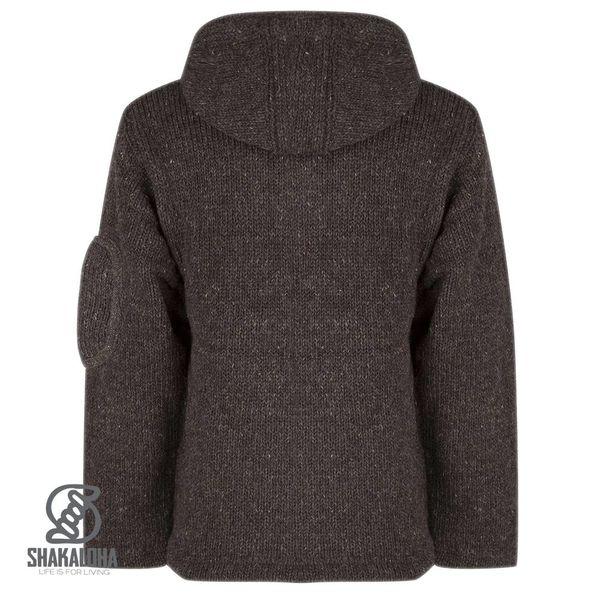 Shakaloha Shakaloha Knitted Woolen Jacket New Chitwan Dark brown with Fleece Lining and Hood - Men - Unisex - Handmade in Nepal from sheep's wool