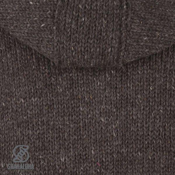 Shakaloha Shakaloha Wolljacke - Strickjacke New Chitwan Dunkelbraun mit Fleece-Futter und Kapuze - Herren - Uni - Handgemacht in Nepal aus Schafwolle