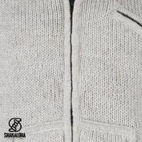 Shakaloha Shakaloha Wolljacke - Strickjacke New Chitwan Beige Creme mit Fleece-Futter und Kapuze - Herren - Uni - Handgemacht in Nepal aus Schafwolle