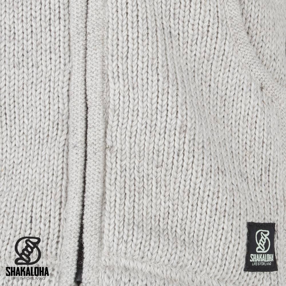 Shakaloha Shakaloha Gebreid Wollen Vest New Chitwan Beige Crème met Fleece Voering en Capuchon - Man/Uni - Handgemaakt in Nepal van Schapenwol