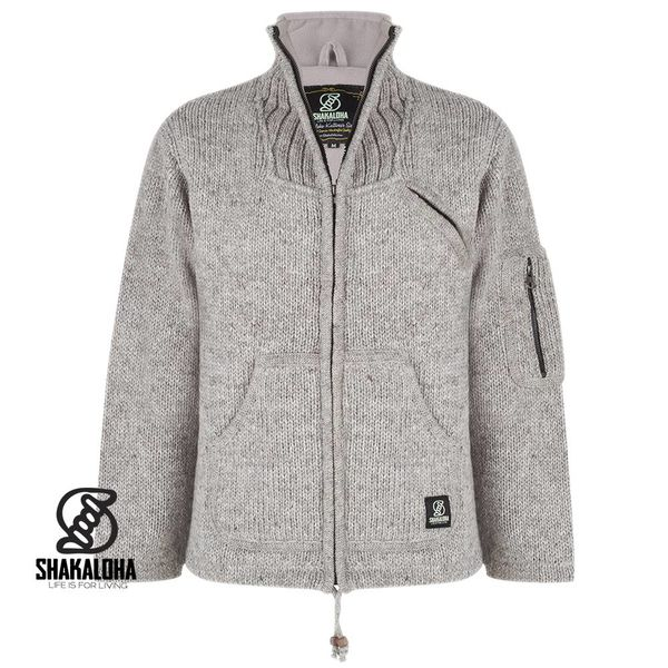 Shakaloha Shakaloha Knitted Woolen Jacket New Parsa Gray with Fleece Lining and High Collar - Men - Unisex - Handmade in Nepal from sheep's wool