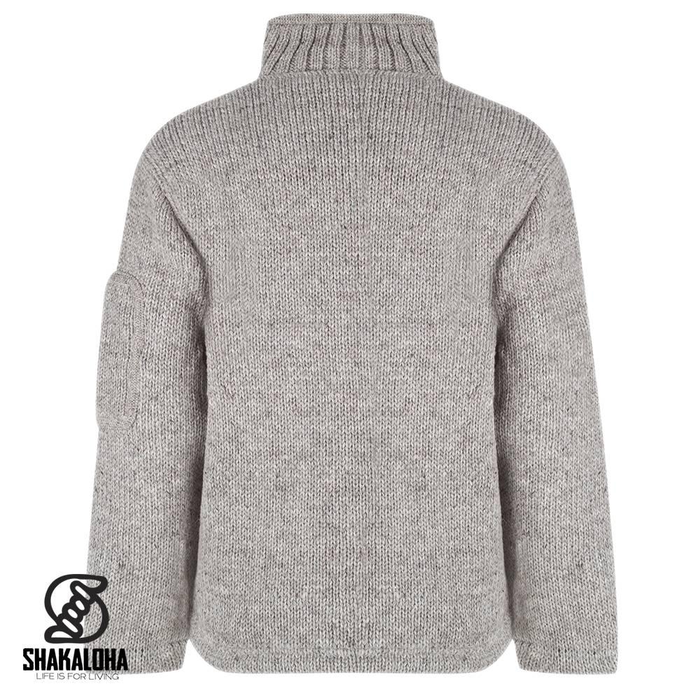 Shakaloha Shakaloha Wolljacke - Strickjacke New Parsa Grau mit Fleece-Futter und hohem Kragen - Herren - Uni - Handgemacht in Nepal aus Schafwolle