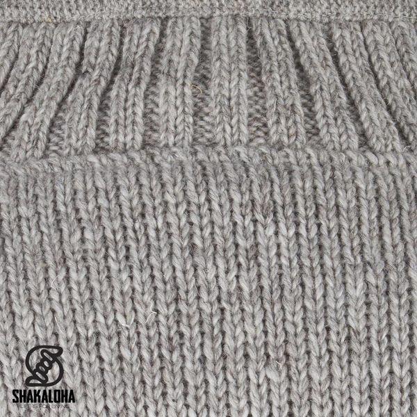 Shakaloha Shakaloha Veste en Laine Tricoté New Parsa gris avec Doublure en polaire et Col haut - Hommes - Uni - Fabriqué à la main au Népal en laine de mouton