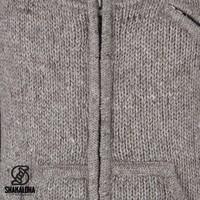 Shakaloha Shakaloha Knitted Woolen Jacket New Parsa Light Brown Taupe with Fleece Lining and High Collar - Men - Unisex - Handmade in Nepal from sheep's wool