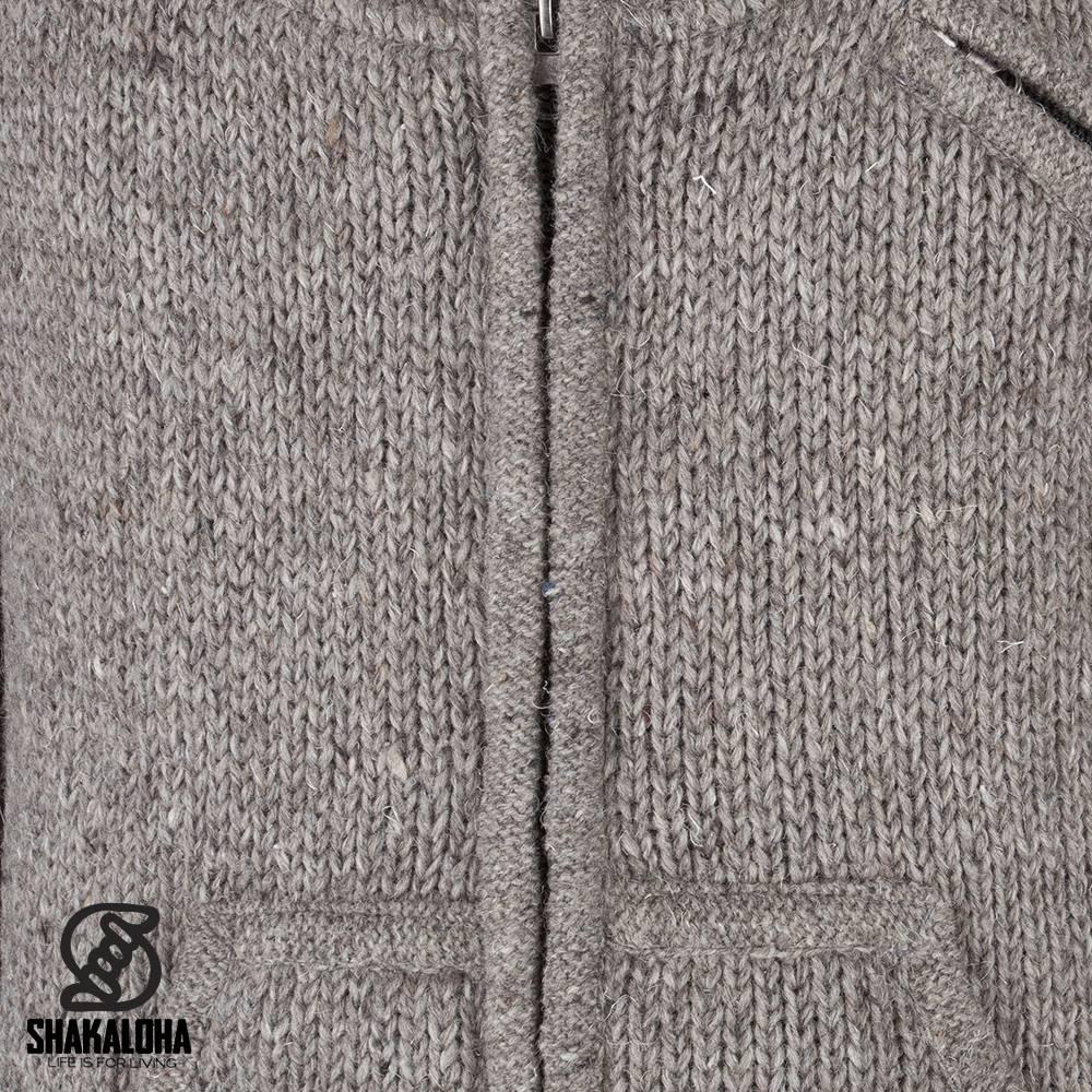 Shakaloha Shakaloha Gebreid Wollen Vest New Parsa Licht Bruin Taupe met Fleece Voering en Hoge Kraag - Man/Uni - Handgemaakt in Nepal van Schapenwol
