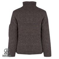 Shakaloha Shakaloha Knitted Woolen Jacket New Parsa Dark brown with Fleece Lining and High Collar - Men - Unisex - Handmade in Nepal from sheep's wool