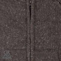 Shakaloha Shakaloha Wolljacke - Strickjacke New Parsa Dunkelbraun mit Fleece-Futter und hohem Kragen - Herren - Uni - Handgemacht in Nepal aus Schafwolle