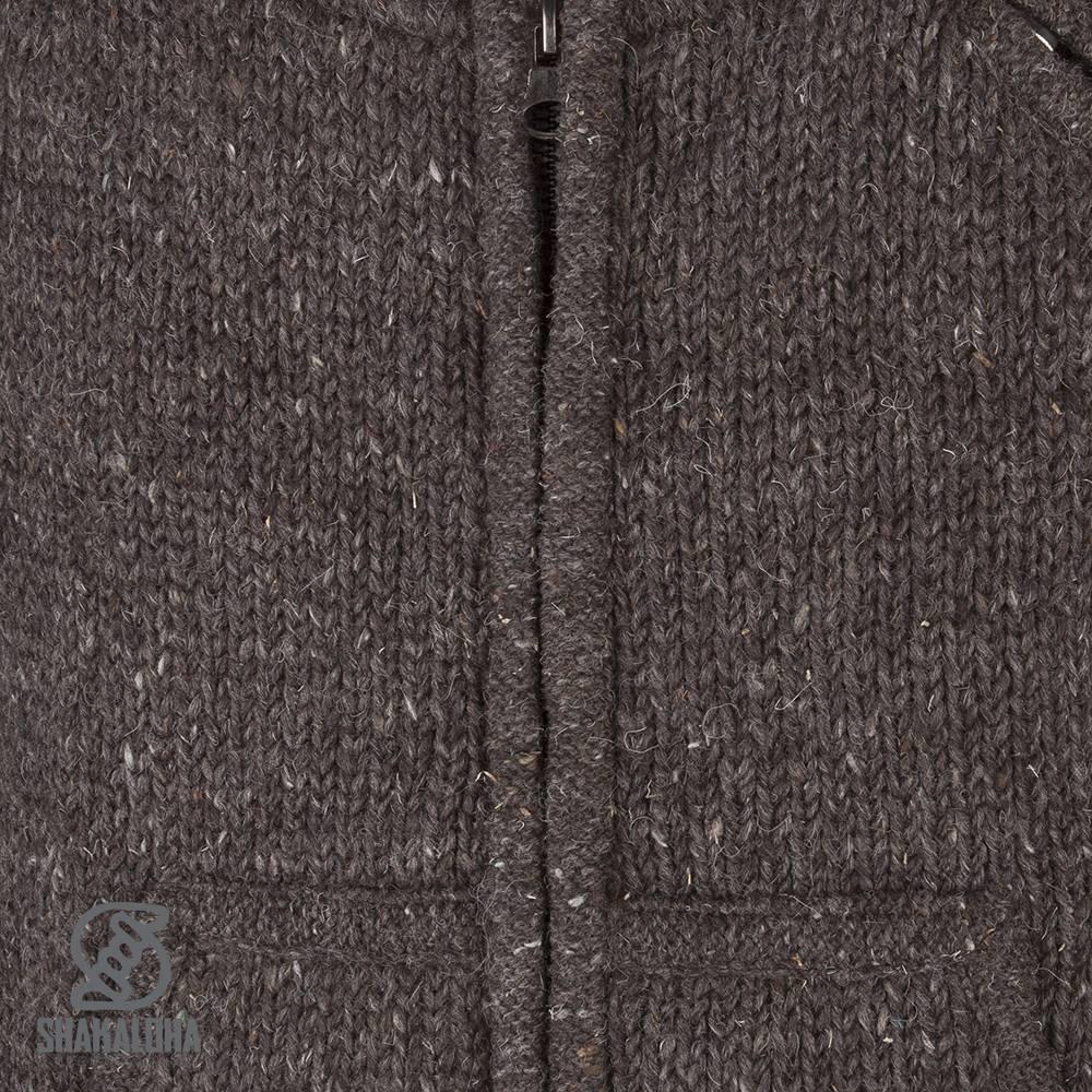 Shakaloha Shakaloha Gebreid Wollen Vest New Parsa Donker Bruin met Fleece Voering en Hoge Kraag - Man/Uni - Handgemaakt in Nepal van Schapenwol