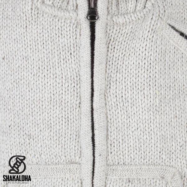 Shakaloha Shakaloha Wolljacke - Strickjacke New Parsa Beige Creme mit Fleece-Futter und hohem Kragen - Herren - Uni - Handgemacht in Nepal aus Schafwolle