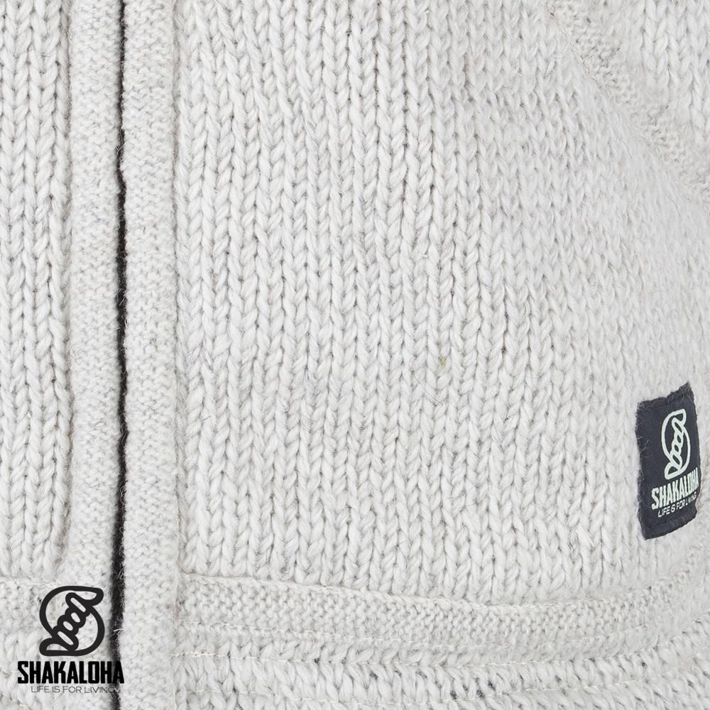 Shakaloha Shakaloha Gebreid Wollen Vest New Parsa Beige Crème met Fleece Voering en Hoge Kraag - Man/Uni - Handgemaakt in Nepal van Schapenwol