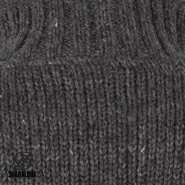 Shakaloha Shakaloha Wolljacke - Strickjacke New Harta Anthrazit mit Fleece-Futter und hohem Kragen - Herren - Uni - Handgemacht in Nepal aus Schafwolle