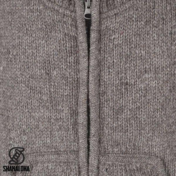 Shakaloha Shakaloha Knitted Woolen Jacket New Harta Light Brown Taupe with Fleece Lining and High Collar - Men - Unisex - Handmade in Nepal from sheep's wool