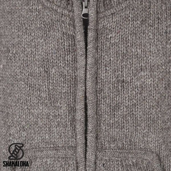 Shakaloha Shakaloha Wolljacke - Strickjacke New Harta Hellbraune Taupe mit Fleece-Futter und hohem Kragen - Herren - Uni - Handgemacht in Nepal aus Schafwolle