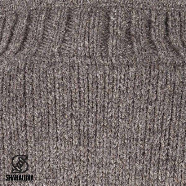 Shakaloha Shakaloha Veste en Laine Tricoté New Harta Taupe marron clair avec Doublure en polaire et Col haut - Hommes - Uni - Fabriqué à la main au Népal en laine de mouton