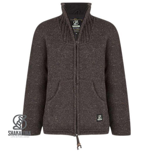 Shakaloha Shakaloha Veste en Laine Tricoté New Harta Marron foncé avec Doublure en polaire et Col haut - Hommes - Uni - Fabriqué à la main au Népal en laine de mouton