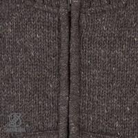 Shakaloha Shakaloha Wolljacke - Strickjacke New Harta Dunkelbraun mit Fleece-Futter und hohem Kragen - Herren - Uni - Handgemacht in Nepal aus Schafwolle