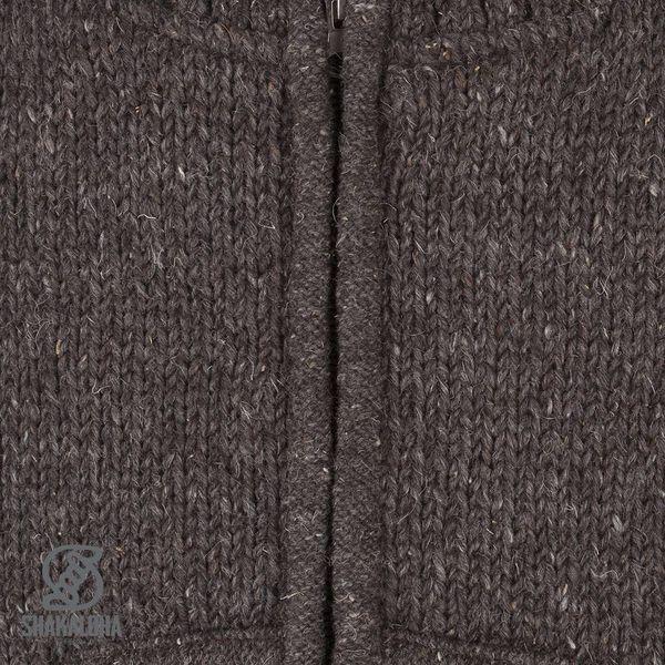 Shakaloha Shakaloha Gebreid Wollen Vest New Harta Donker Bruin met Fleece Voering en Hoge Kraag - Man/Uni - Handgemaakt in Nepal van Schapenwol