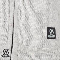 Shakaloha Shakaloha Gebreid Wollen Vest New Harta Beige Crème met Fleece Voering en Hoge Kraag - Man/Uni - Handgemaakt in Nepal van Schapenwol