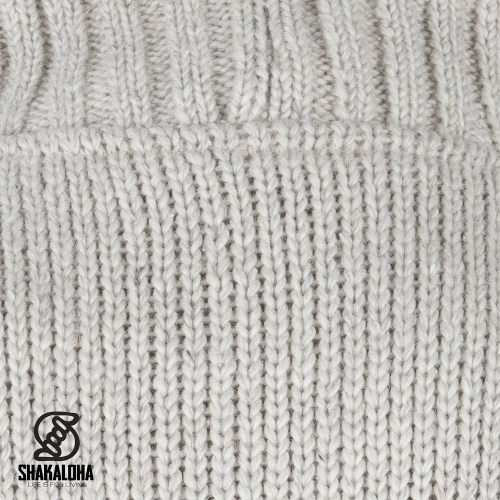 Shakaloha Shakaloha Wolljacke - Strickjacke New Harta Beige Creme mit Fleece-Futter und hohem Kragen - Herren - Uni - Handgemacht in Nepal aus Schafwolle