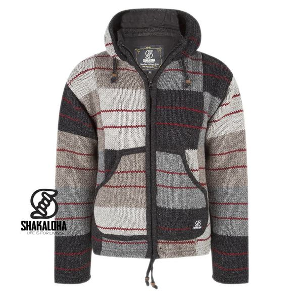 Shakaloha Shakaloha Knitted Woolen Jacket Patch NH Natural colors with red with Fleece Lining and Hood with inner collar - Men - Unisex - Handmade in Nepal from sheep's wool