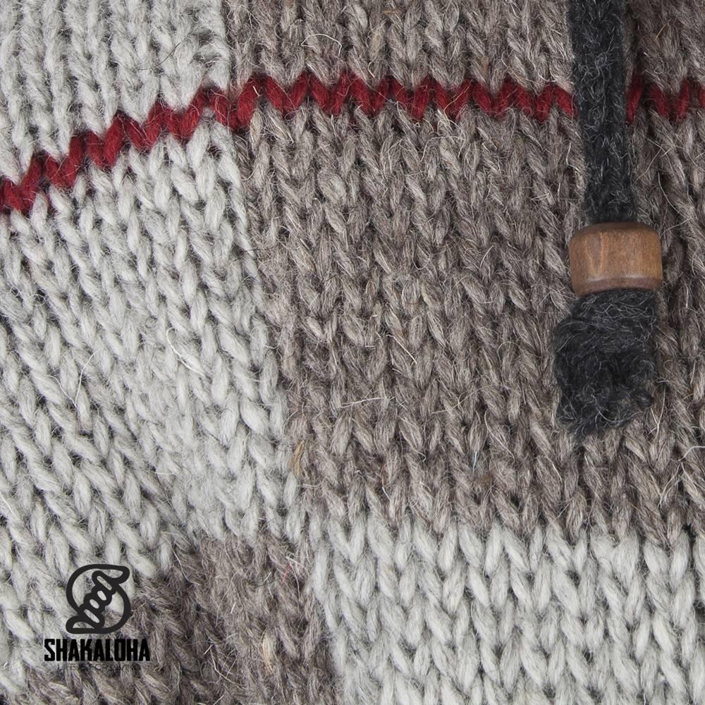Shakaloha Shakaloha Gebreid Wollen Vest Patch NH Natuurkleuren met rood met Fleece Voering en Capuchon met Binnenkraag - Man/Uni - Handgemaakt in Nepal van Schapenwol