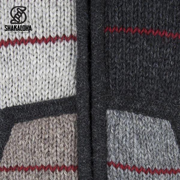 Shakaloha Shakaloha Wolljacke - Strickjacke Patch NH Natürliche Farben mit Rot mit Fleece-Futter und Kapuze mit Innenkragen - Herren - Uni - Handgemacht in Nepal aus Schafwolle