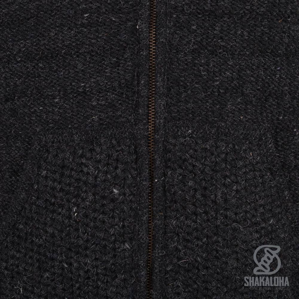 Shakaloha Shakaloha Gebreid Wollen Vest Chuck Ziphood Antraciet met Fleece Voering en Afneembare Capuchon - Man/Uni - Handgemaakt in Nepal van Schapenwol