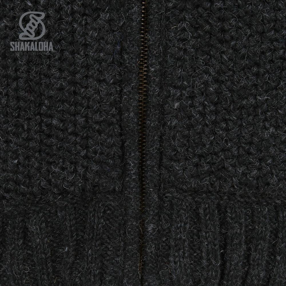 Shakaloha Shakaloha Veste en Laine Tricoté Chuck Ziphood Anthracite avec Doublure en polaire et Capuche détachable - Hommes - Uni - Fabriqué à la main au Népal en laine de mouton