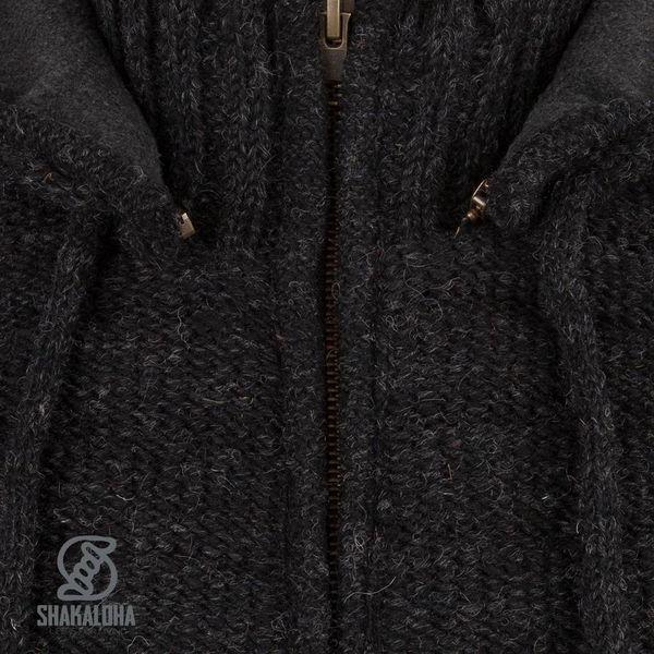 Shakaloha Shakaloha Knitted Woolen Jacket Chuck Ziphood Anthracite with Fleece Lining and Detachable Hood - Men - Unisex - Handmade in Nepal from sheep's wool