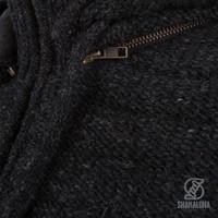Shakaloha Shakaloha Wolljacke - Strickjacke Chuck Ziphood Anthrazit mit Fleece-Futter und Abnehmbarer Kapuze - Herren - Uni - Handgemacht in Nepal aus Schafwolle
